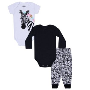 Kit Bodies e Calça Bebê 3 peças em Suedine - Calça, Body Manga Curta e Body Manga Longa - Zebra