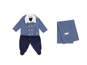 Saída De Maternidade Masculina (Macacão, Casaco e Manta) Azul