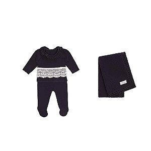 Saída De Maternidade Menina Tricot (Calça, blusa e Manta) Marinho/Branco - RN