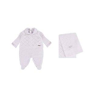 Saída De Maternidade Em Tricot/Plush Feminina  (Macacão  e Manta) Branca - RN