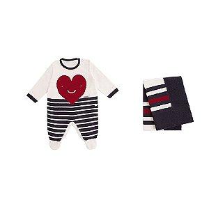 Saída De Maternidade Unissex em Tricot  Listrada Coração (Macacão e Manta) P