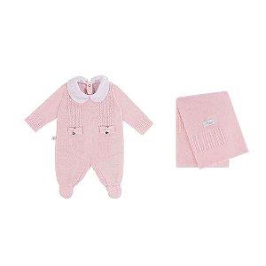 Saída De Maternidade Menina Tricot (Macacão e Manta) Laços - Rosa - RN