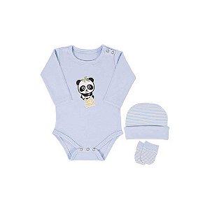 Kit 3 Peças - Body, Touca e Luva Panda - Colibri - P - Azul