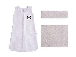 Jogo de Lençol com Saco de Dormir Abracinho/Panda Branco (Hipoalérgico) - P