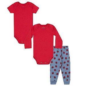 Kit Bebê Menina 3 peças - Bodies /Calça - Vermelho - Moranguinho