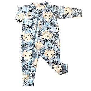 Macacão em Cotton Light + Bandana - Elefantinho - Azul