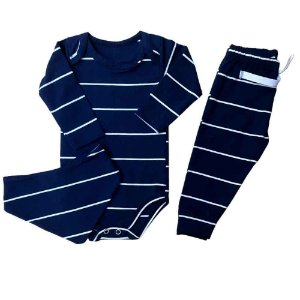 Kit Body Cotton Light + Calça + Bandana - Listrado - Azul