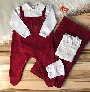 Kit Saída de Maternidade Vermelha + Body + Paninho de boca + Luva e Meia