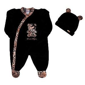 Macacão Longo em Plush Baby Tiger + Touca