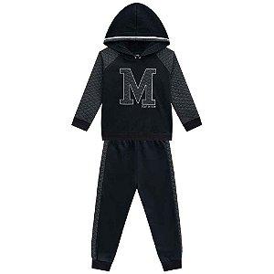 Conjunto Masculino Blusão com Capuz Matelasse e Calça Jogger - Preto