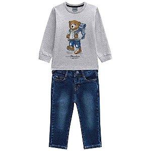Conjunto Masculino Camiseta Manga Longa e Calça Jeans escuro
