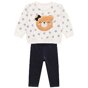 Conjunto Blusão com Carinha de Urso com Pelos e Calça Legging