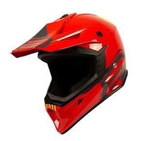 CAPACETE MOTOCROS ASW CORE LEGACY VERMELHO CINZA FLUO TAM 58