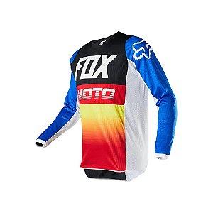 CAMISA FOX MX MOTOCROSS TRILHA 180 FYCE AZUL VERMELHO TAM G