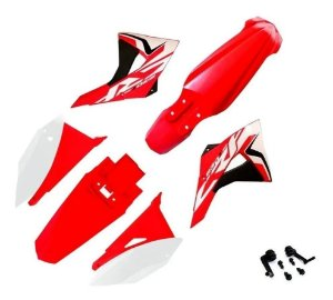 Kit Plástico El1te Biker Com Adesivos Crf 230 VERMEL BRANCO