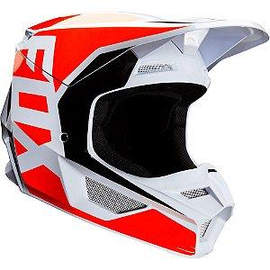 CAPACETE MOTOCROSS FOX MX V1 PRIX LARANJA BRANCO TAM 58
