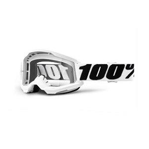 OCULOS MOTOCROSS TRILHA 100% STRATA 2 EVEREST BRANCO CRISTAL