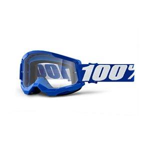 OCULOS MOTOCROSS TRILHA 100% STRATA 2 CRISTAL BLUE AZUL