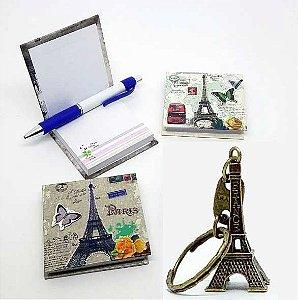 Kit Paris - Blocos de Anotações + Chaveiro em Metal Torre Eiffel