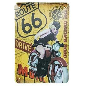 Placa de Metal Route 66 - The Mother Road