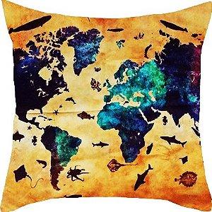 Capa de almofada Mapa-múndi Mar 45x45cm