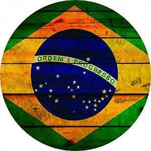Placa Decorativa em MDF Redonda - Bandeira do Brasil