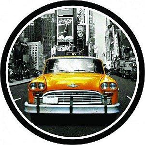 Placa Decorativa em MDF Redonda - Táxi Nova York