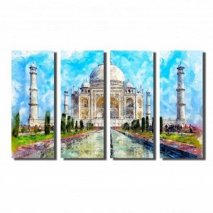 Kit de Quadros Decorativos Pintura Watercolor Taj Mahal