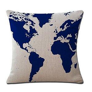 Capa de almofada Mapa Múndi Azul