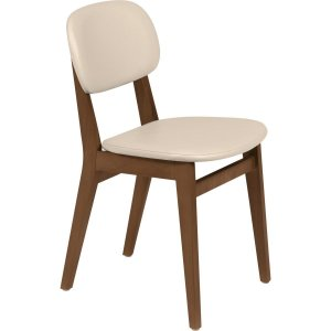 Cadeira de Madeira com Estofado London Amêndoa/Bege Tramontina 14060131