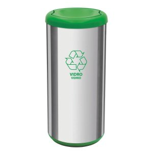 Lixeira Cápsula Selecta Plus Com Tampa Basculante Verde Aço Inox Tramontina 94539205