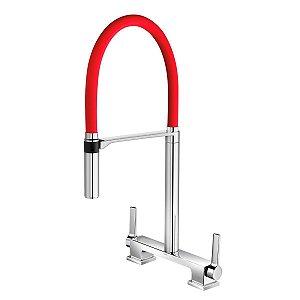 Misturador De Mesa Bica Alta Para Cozinha Doc Cromado/Vermelho 00738779 Docol
