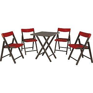 Conjunto Potenza 1 Mesa e 4 Cadeiras Tabaco com Vermelho Tramontina 10630029