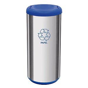 Lixeira Cápsula Selecta Plus com Tampa Basculante Azul Aço Inox Tramontina 94539201