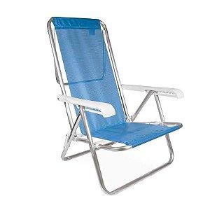 Cadeira Reclinável Alumínio 8 Posições Azul