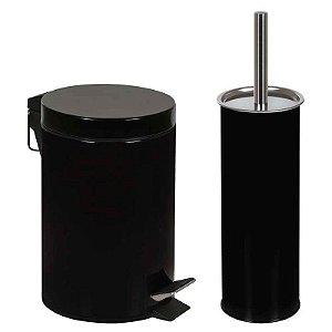 Conjunto Ágata Lixeira 3 Litros e Escova para Higienização de Vaso Sanitário Pre