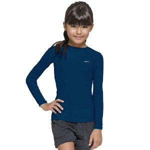 Camisa térmica Infantil Proteção Solar Uv 50+ Manga Longa Selene Azul
