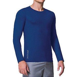 Camisa Térmica Masculina Azul Manga Longa com Proteção Solar UV50+