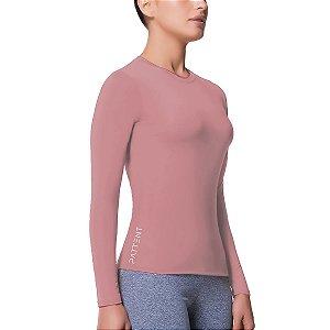 Camisa Térmica Feminina Rosa Manga Longa com Proteção Solar UV50+