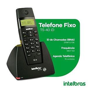 Telefone Fixo Intelbras s/Fio TS40 Preto