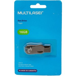 Pen Drive Titan 16GB USB Leitura 10MB/s e Gravação 3MB/s Preto Multilaser - PD602