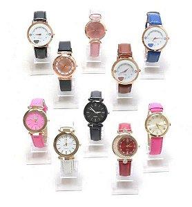 Kit 05 Relógios Femininos Em Couro + Caixinhas de Acrílico