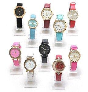 Kit 03 Relógios Femininos Em Couro Com Caixinhas De Acrílico