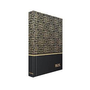 LIVRO CAIXA PRETO E DOURADO 1925 - 30X24X4CM