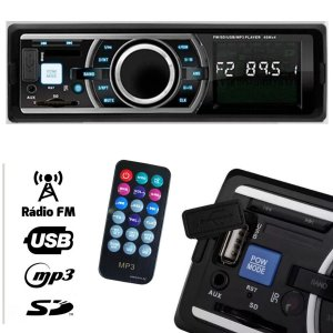 Rádio Automotivo MP3 Player USB / SD / AUX / FM  com controle remoto