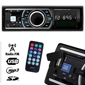 Rádio Automotivo MP3 Player USB / SD / AUX / FM  com controle remoto