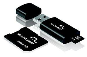 Cartão de Memória Multilaser MicroSD + SD + Pen Drive 4GB Kit 3 Em 1 - MC057