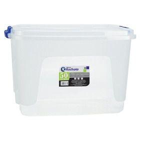 Caixa Organizadora 50 Litros Transparente Com Travas RISCHIOTO para cultivo de cogumelos (Terrário)