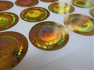 Selo Holográfico Cor Ouro Genuine Original  ( Modelo 04 ) - 100 Unid