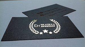 Cartão de Visita Preto Perolado Dourado ou Prata - 1000Unid